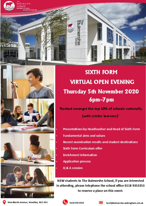Virtual Sixth Form Open Evening Flyer Final